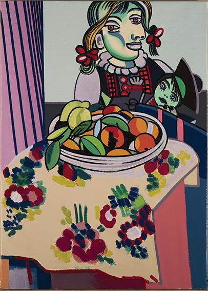 Erró - Erro-Picasso-Matisse (Nature morte aux oranges),1985 - peinture glycérophtalique sur toile, 46 x 33 cm - Galerie Sonia Zannettacci, Genève