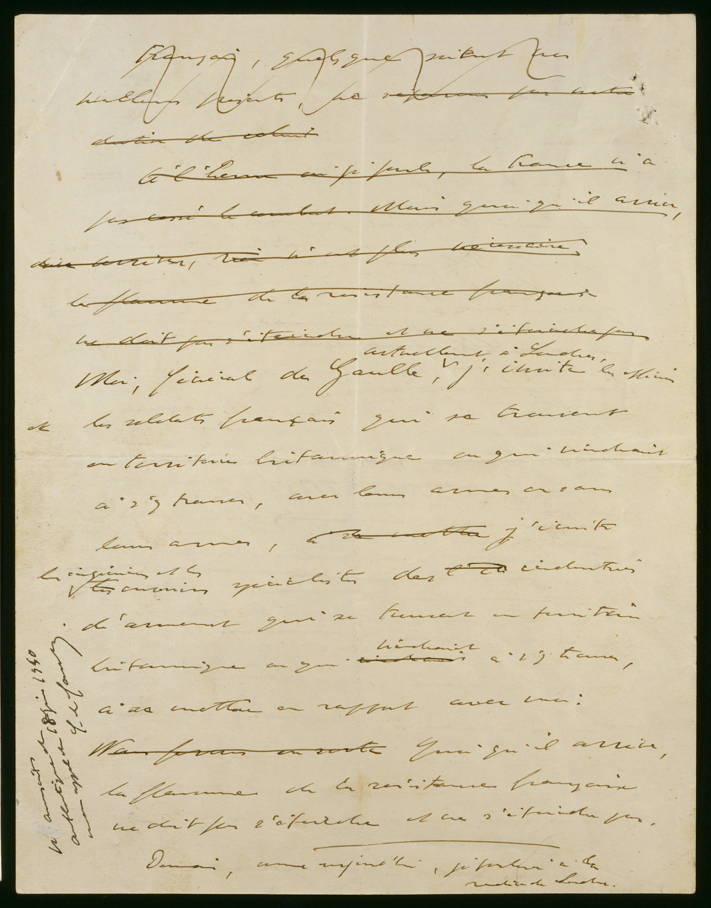 Une page du manuscrit de l'Appel du 18 juin authentifiée.