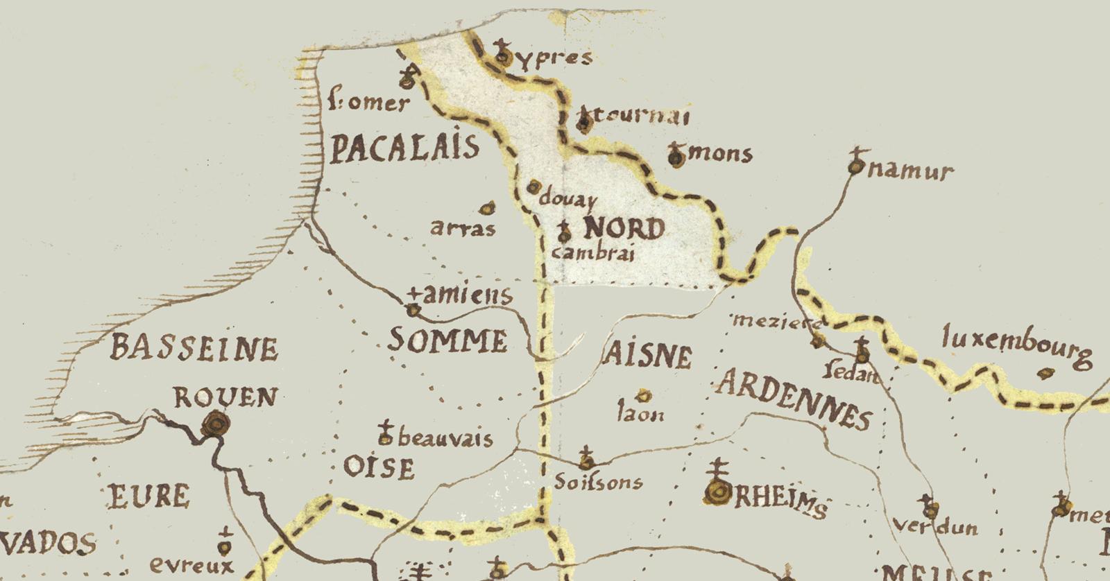 Une ancienne carte du Nord de la France