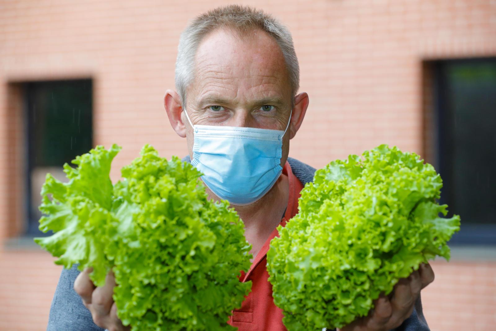 Homme avec 2 salades dans les mains<br>