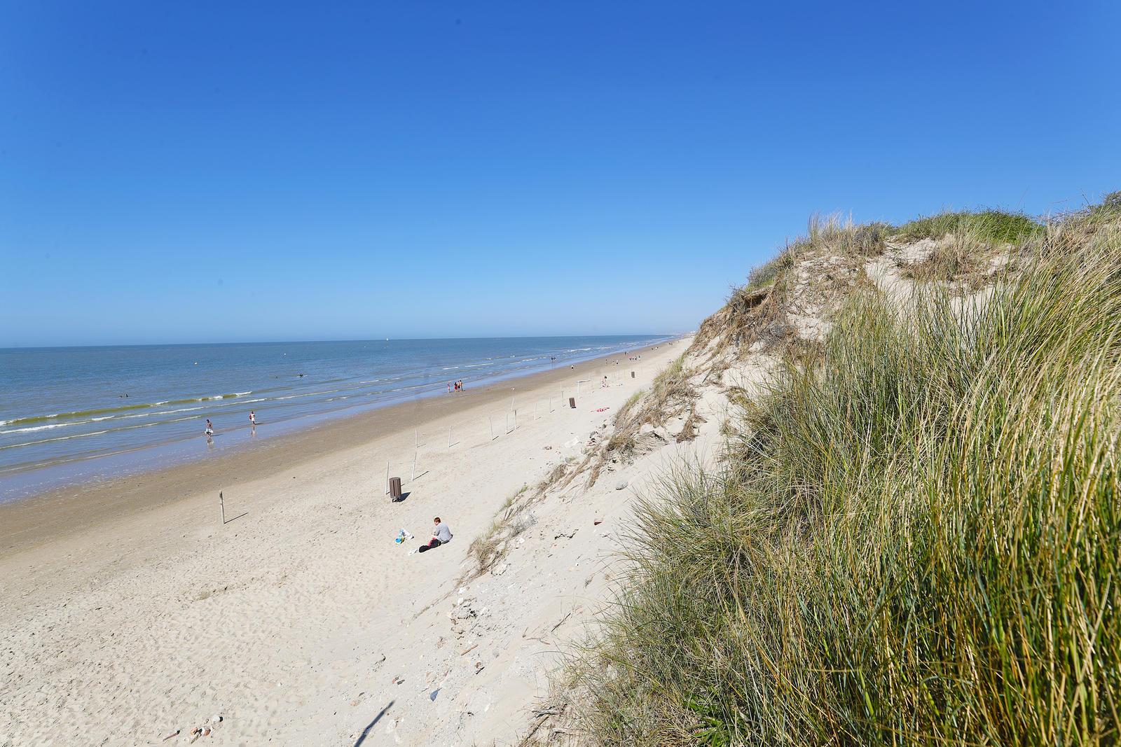Une dune avec la mer du Nord en fond