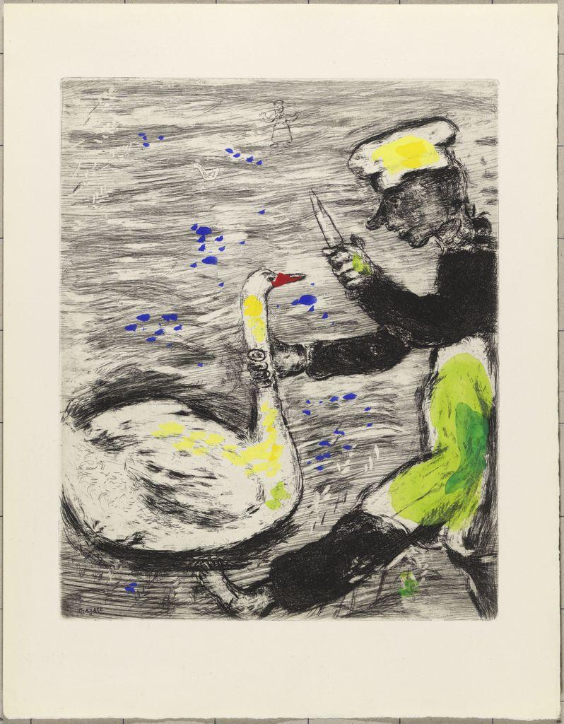 GravureLe cygne et le cuisinier de Jean de La Fontaine par Marc Chagall